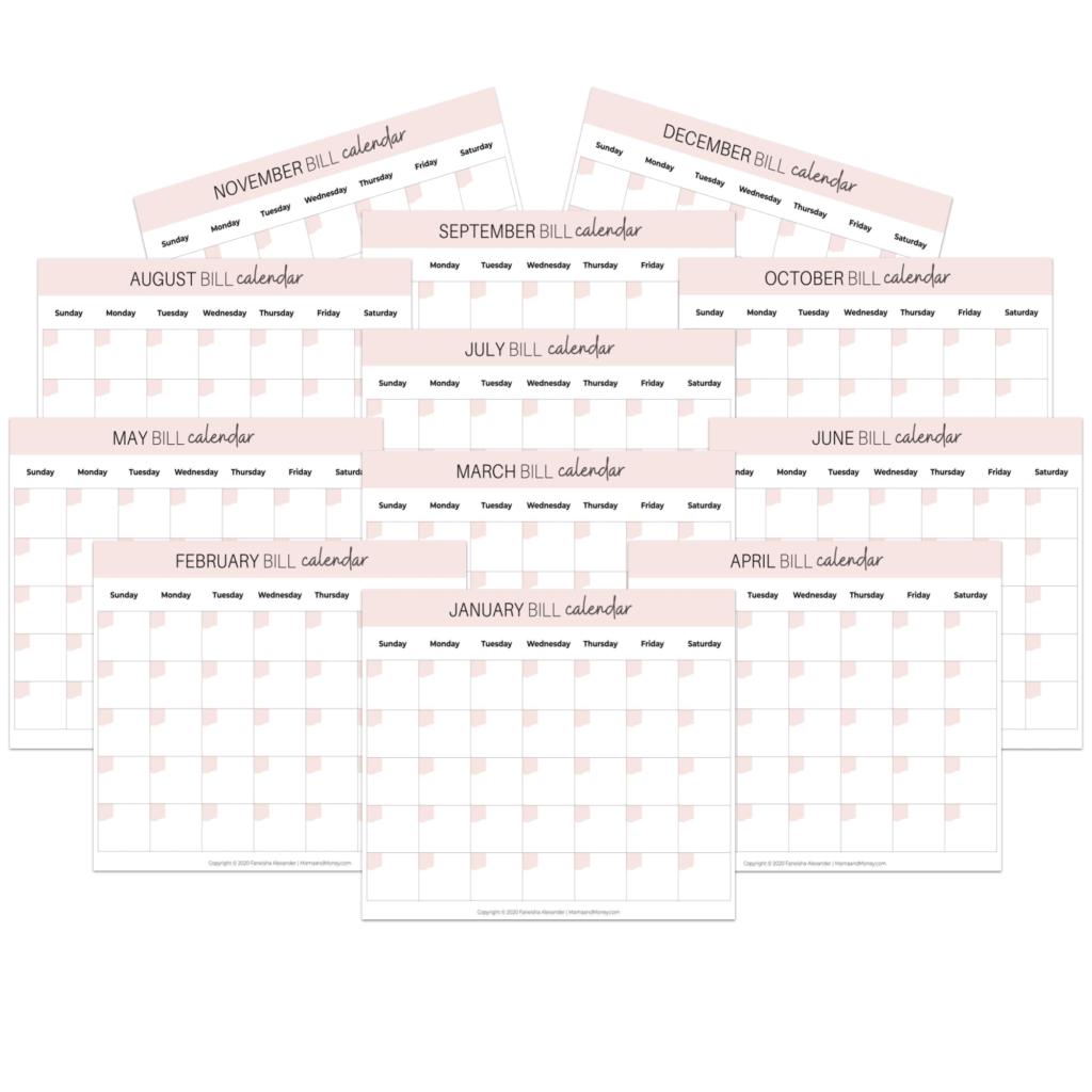 Bill Calendar Template from mamaandmoney.com