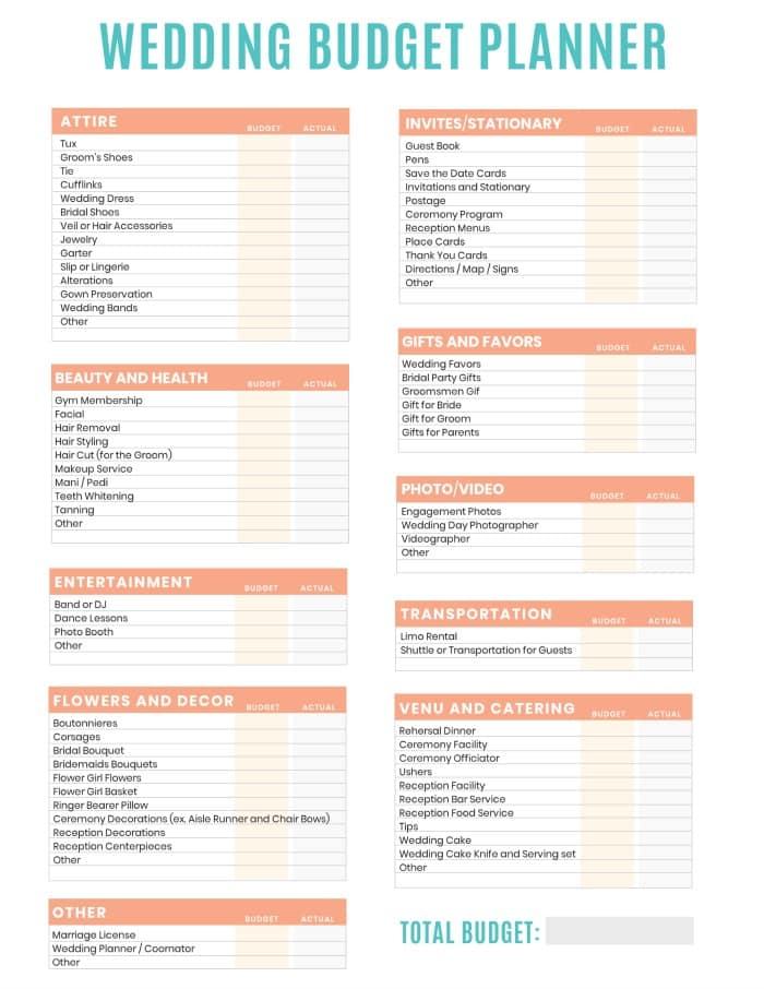 wedding budget planner worksheet