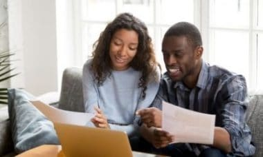black couple budgeting