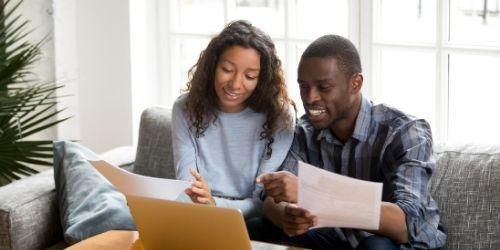 black couple budgeting